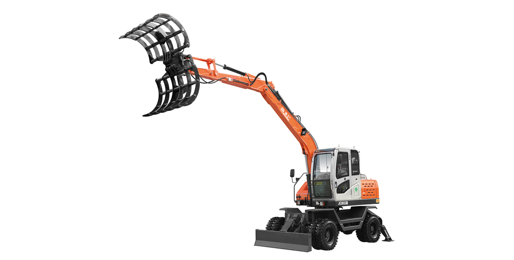 Jing Gong hot sale 7.8 ton tyre excavator with cotton grapple