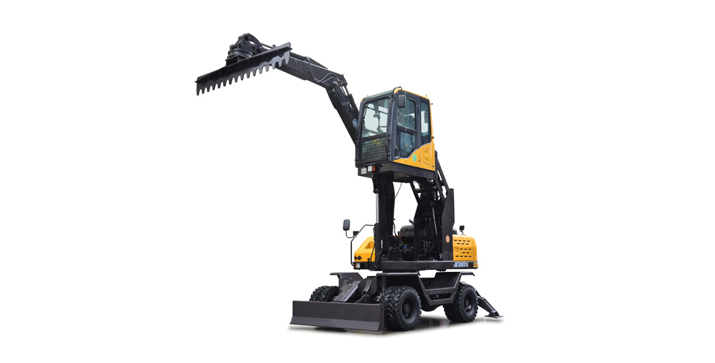 Jing Gong hot sale 100S 7.6 tons wheel type excavator with material leveling machine