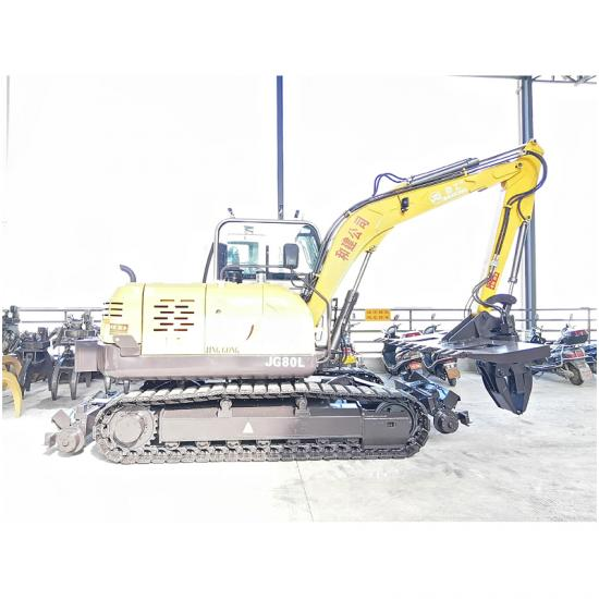 Jing Gong 80L crawler excavator with sleeper changer machine