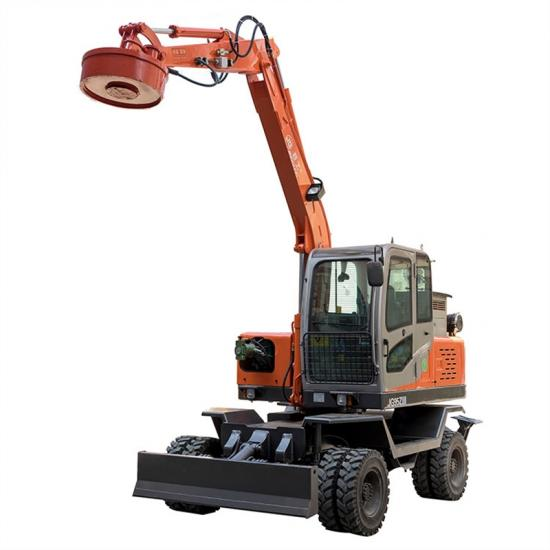 Jing Gong 7 ton tyre excavator with magneitic and electric sucker