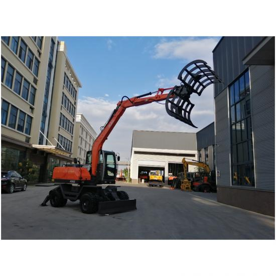 Jing Gong 95Z hydraulic wheeled excavator with cotton clip